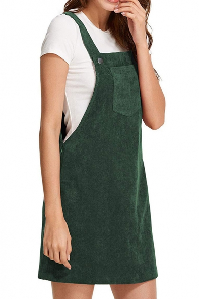 Corduroy Plain Straps Sleeveless Mini Overall Dress