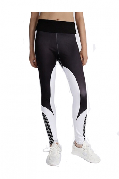 Honeycomb Color Block Elastic Waist Sports Leggings