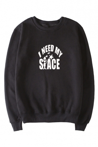 I NEED Letter Alien Print Round Neck Long Sleeve Sweatshirt