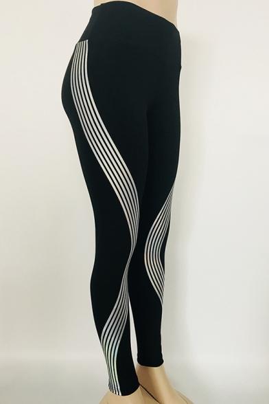 Laser Reflective Striped Elastic Waist Dance Leggings