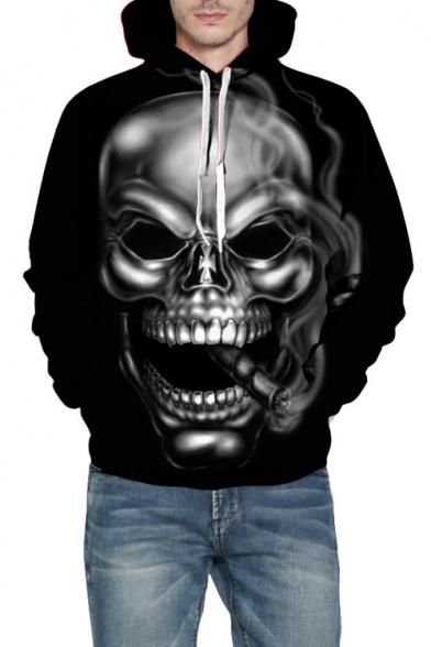 Smoke Skull Pattern Long Sleeve Casual Hoodie