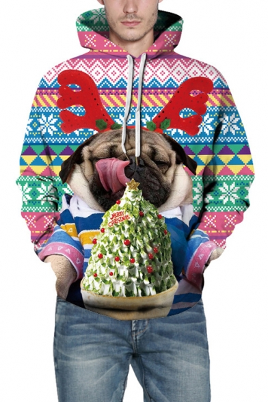 3D Christmas Dog Geometric Pattern Color Block Unisex Casual Hoodie, LC491820