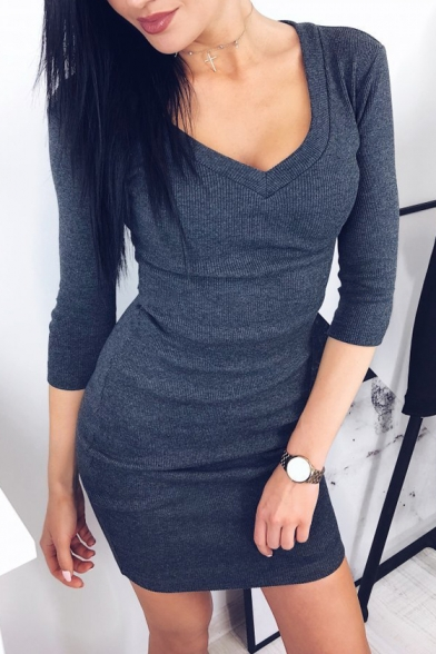 Autumn's New Arrival Long Sleeve V Neck Solid Ribbed Knit Bodycon Mini Dress