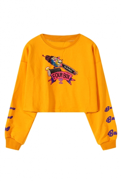 Cartoon FOUR BOX Letter Print Long Sleeve Round Neck Loose Fitted Cropped Sweatshirt