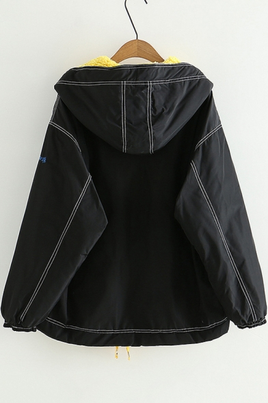 Contrast Stitching Half Zip Front Long Sleeve Hooded Drawstring Hem Black Cotton Coat
