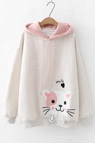 Letter SMILE Cartoon Cat Patched Long Sleeve Casual Hoodie for Juniors