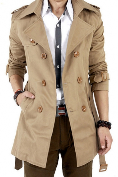 Купить со скидкой Men's Autumn New Trendy Notched Lapel Collar Long Sleeve Double Breasted Trench Coat