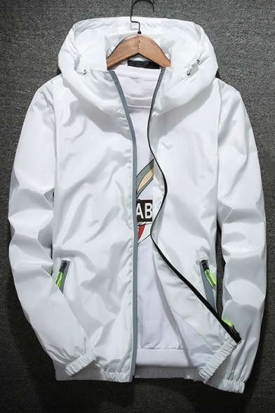 Men's Chic Contrast Zip Pocket Long Sleeve Hooded Lightweight Sports Jacket
