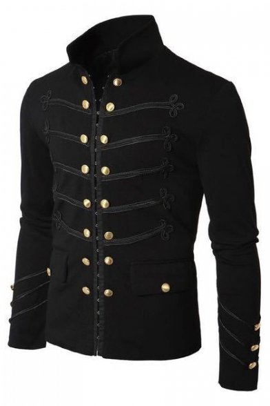 New Trendy Fashion Chinese Style Button Long Sleeve Stand Collar Slim Fitted Jacket