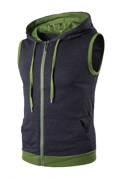Stylish Color Block Hooded Sleeveless Zip Up Fitted Vest Coat for Men