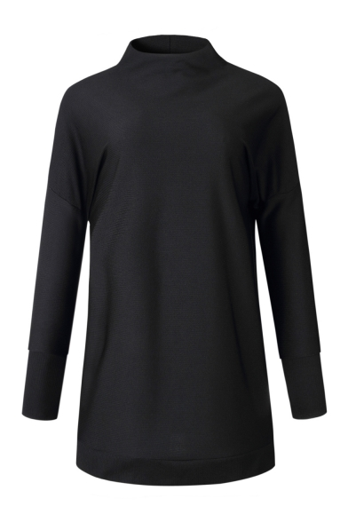Winter's Basic Solid High Neck Long Sleeve Mini Casual Shift Sweater Dress