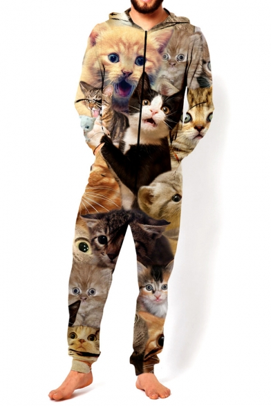 Image of 3D Khaki Cartoon Cat Pattern Hooded Long Sleeve Loose Fitted Unisex Jumpsuits