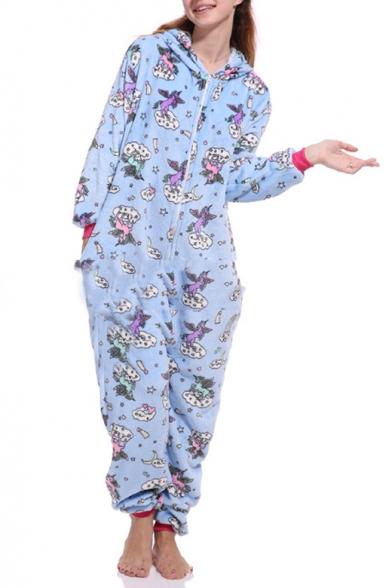Blue Pegasus Cosplay Fleece Long Sleeve Hooded Zip Up Onesie Pajamas