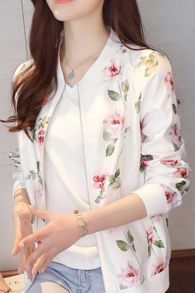 Chic Floral Printed Stand Collar Long Sleeve Zip Up Fitted Baseball Jacket