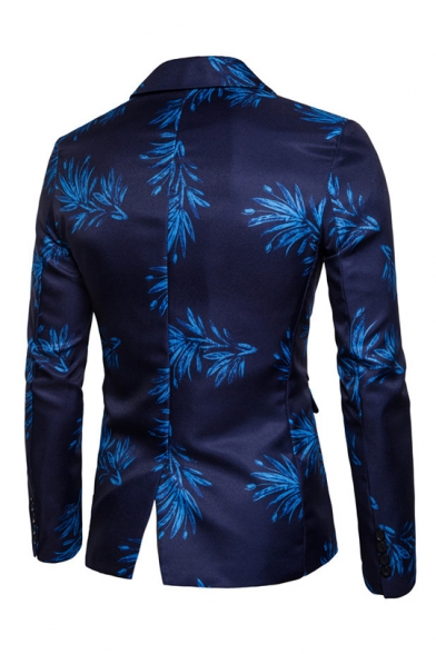 Fancy Floral Pattern Long Sleeve Notched Lapel Collar Single Button Slim Fitted Blazer for Men