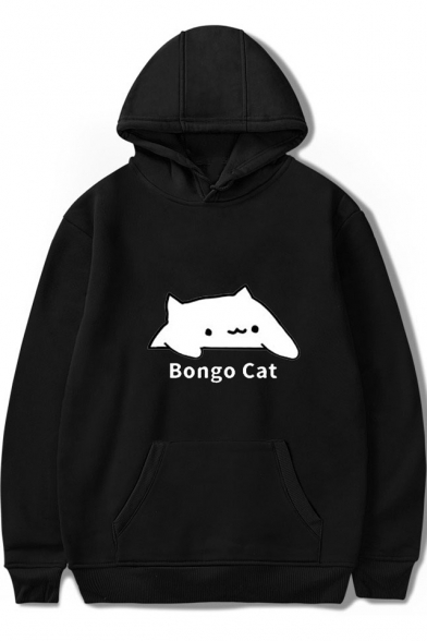 Funny Letter Cartoon BONGO CAT Pattern Winter's Long Sleeve Hoodie