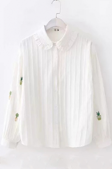 Girls Unique Pot Embroidered Long Sleeve White Simple Button Down Shirt