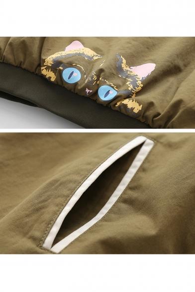 Lovely Cartoon Cat Printed Stand Collar Long Sleeve Zip Up Loose Leisure Baseball Jacket