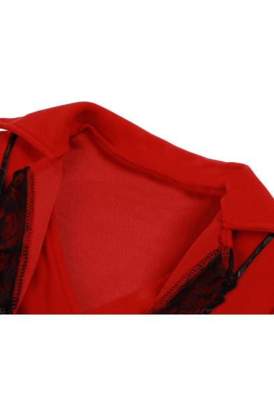 Unique Medieval Costume Long Sleeve Lace-Trimmed Button Down Front Asymmetric Coat