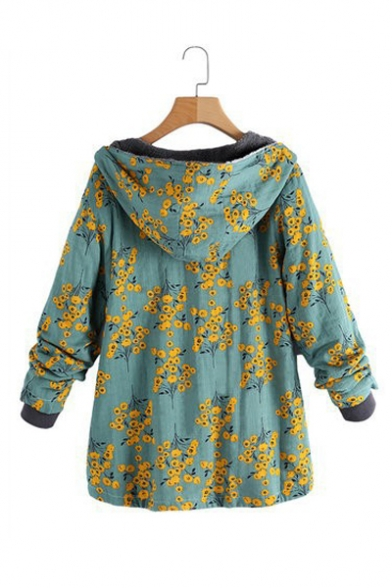 Winter's New Stylish Floral Printed Long Sleeve Hooded Button Down Cotton Coat