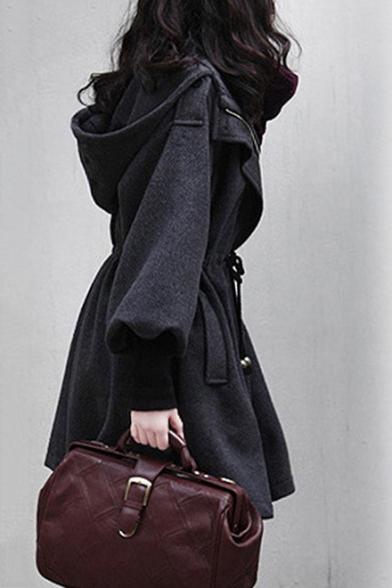 Women's Winter Long Sleeve Hooded Drawstring Waist Dark Gray Cashmere Coat