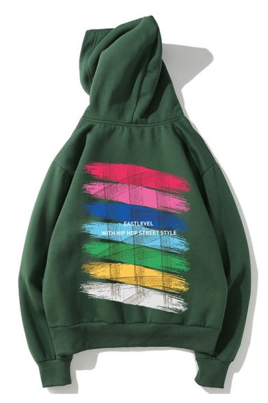 Letter EASTLEVEL Rainbow Painting Back Long Sleeve Oversized Unisex Hoodie
