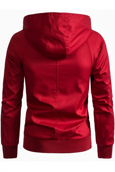 Men's Basic Simple Long Sleeve Hooded Zip Up Tailored Fitted Jacket