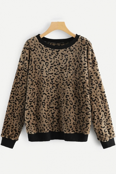 New Arrival Trendy Leopard Printed Round Neck Long Sleeve Pullover Fleece Coffee Sweatshirt