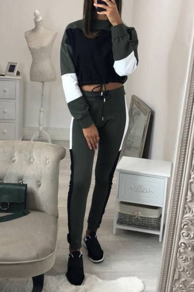 New Fashion Color Block Long Sleeve Cropped Sweatshirt Sports Pants Casual Outfit Co-ords
