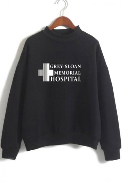 Simple Cross Letter Printed Loose Long Sleeve Mock Neck Sweatshirt