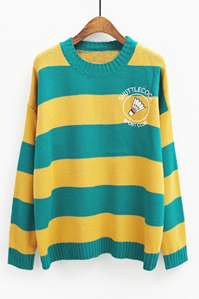Badminton Letter Printed Classic Striped Crewneck Long Sleeve Sweater