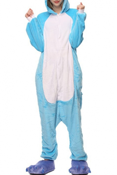 Blue Elephant Cosplay Carnival Fleece Unisex Onesie Sleepwear Pajamas