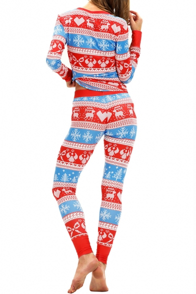 Christmas Deer Printed V Neck Long Sleeve Top Sleepwear Co-ords for Women