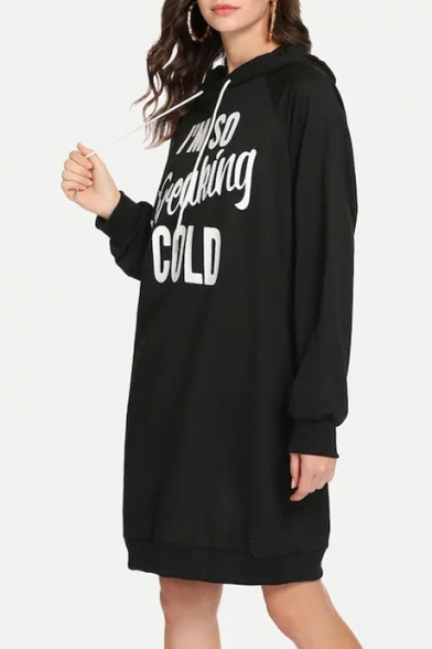 Letter I'M SO FREAKING COLD Printed Long Sleeve Loose Fitted Mini Black Hoodie Dress