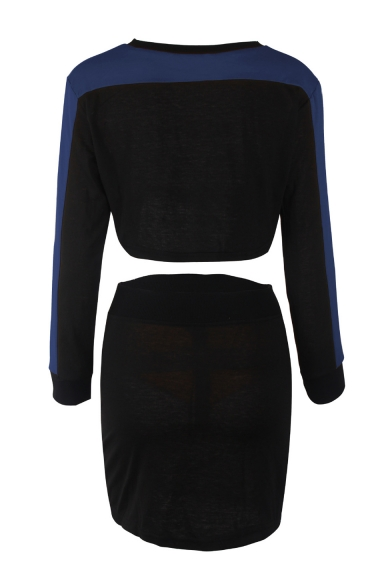 Long Sleeve Round Neck Cropped Top Zip Closure Mini Skirt Color Block Fashion Outfits Co-ords