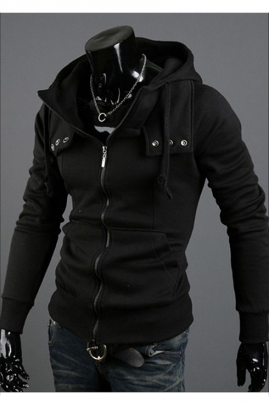 Men's Autumn New Stylish Long Sleeve Basic Solid Zip Up Slim Fitted Hoodie LC493861 фото