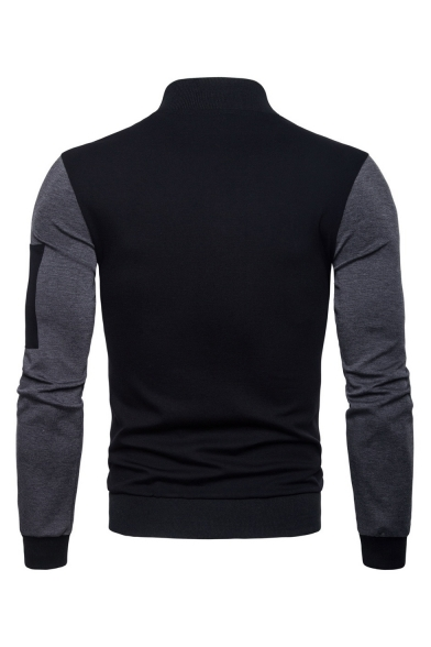 Men's Fashion Stand Collar Long Sleeve Black and Gray Color Block Zip Up Slim Jacket
