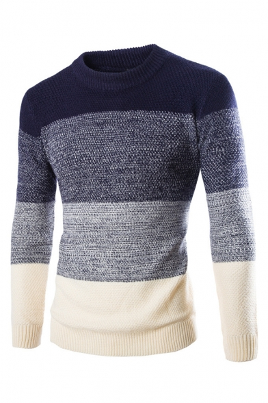 Модный мужская цвет блока с длинным рукавом экипаж шеи Slim-подходят свитер