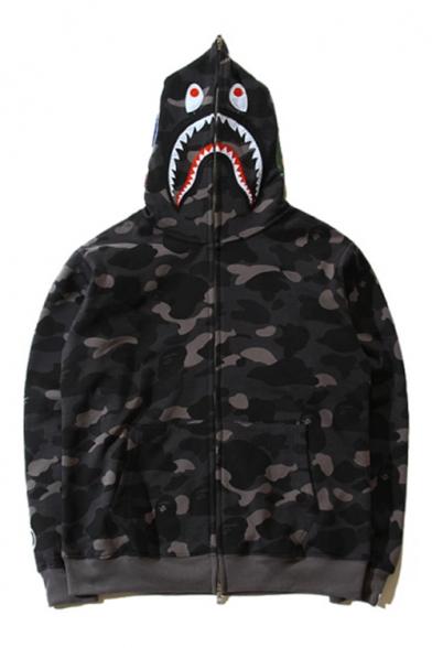 New Trendy Camouflage Pattern Shark Hooded Long Sleeve Zip Up Hoodie