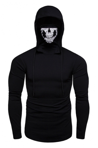 Stylish Skull Printed Stretch Slim Long Sleeve Sports Mask Hoodie for Men