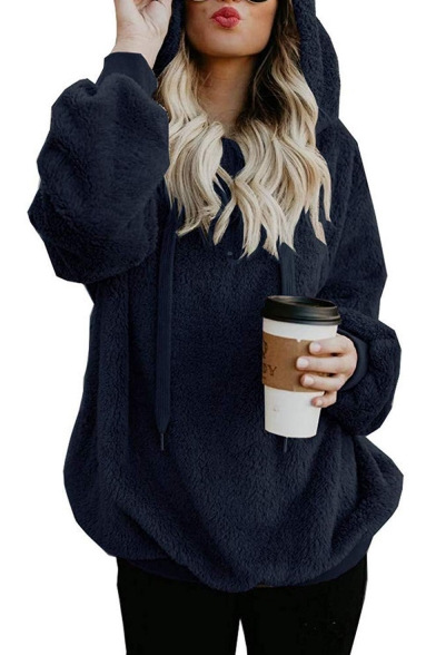 Women's Simple Long Sleeve Half Zip Front Plain Oversize Faux Fur Hoodie