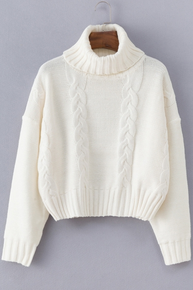 Womens Turtle Neck Long Sleeve White Cable Knitted Sweater