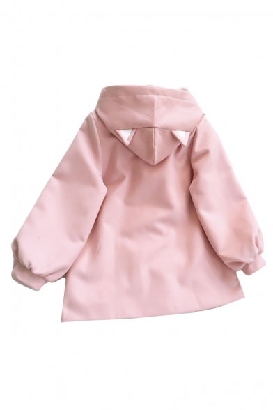 Cute Cartoon Cat Printed Long Sleeve Single Breasted Hooded Woolen Coat for Girls