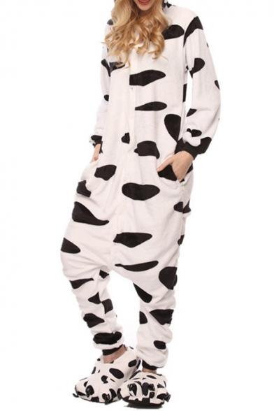 Fleece Black and White Cow Carnival Costume Onesie Unisex Pajamas
