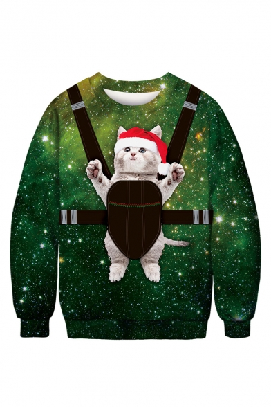 Green Galaxy 3D Christmas Cartoon Cat Pattern Round Neck Long Sleeve Sweatshirt