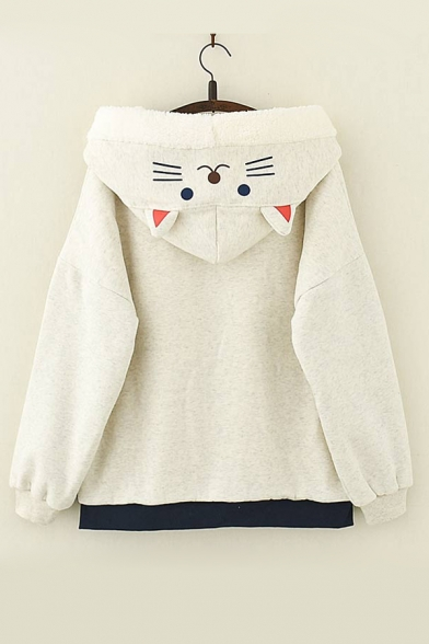 Cartoon Cat Fish Embroidered Hooded Long Sleeve Zip Up Coat