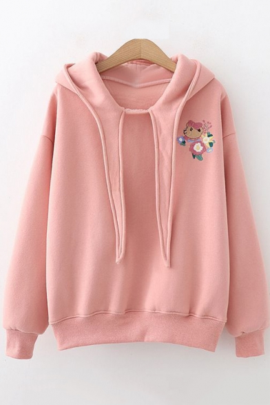 Cartoon Floral Embroidered Long Sleeve Regular Hoodie for Juniors