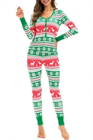 Christmas Snowflake Deer Pattern Long Sleeve V Neck Top Green Sleepwear Co-ords