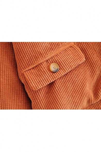 Classic Lapel Collar Long Sleeve Button Front Coffee Corduroy Coat for Juniors