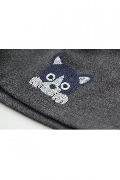Cute Cartoon Dog Pattern Elastic Waist Loose Fitted Wool Shorts
